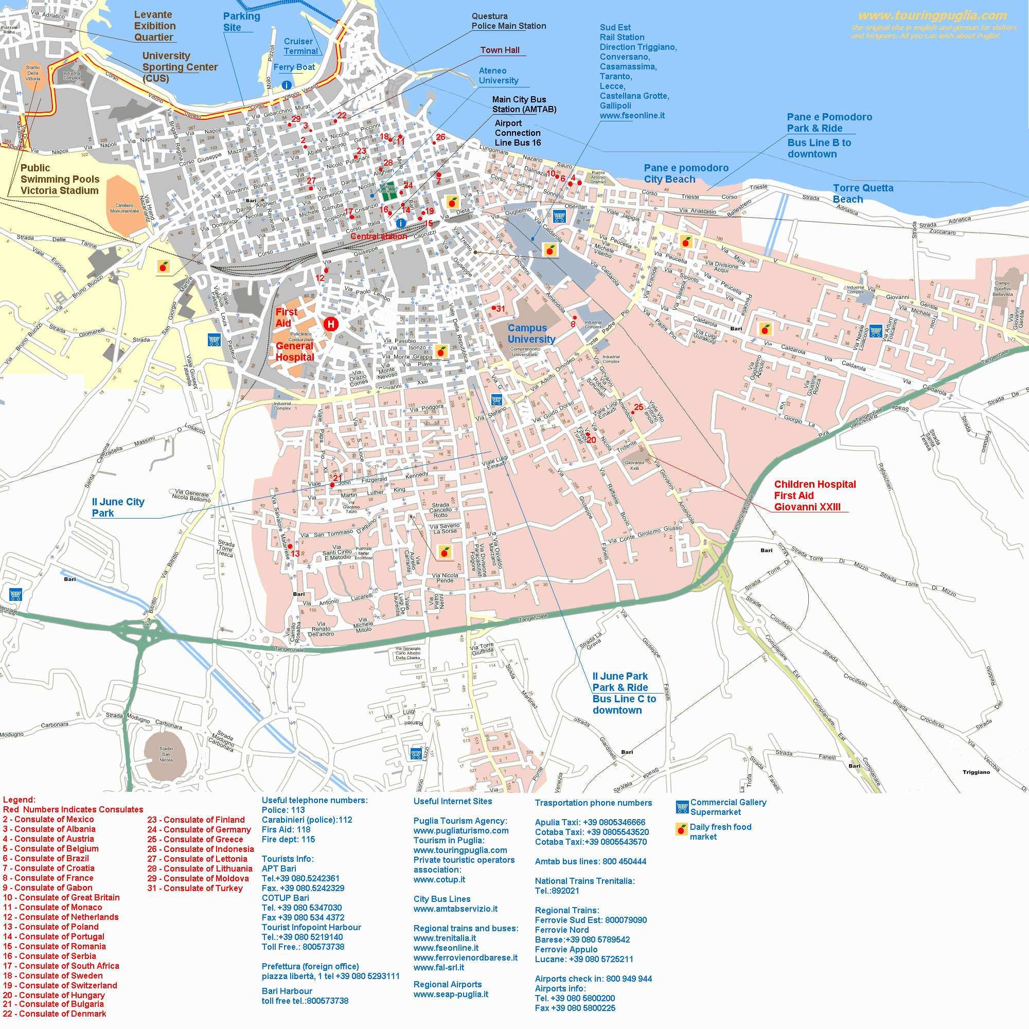 Turistinis žemėlapis (Baris, Italija)