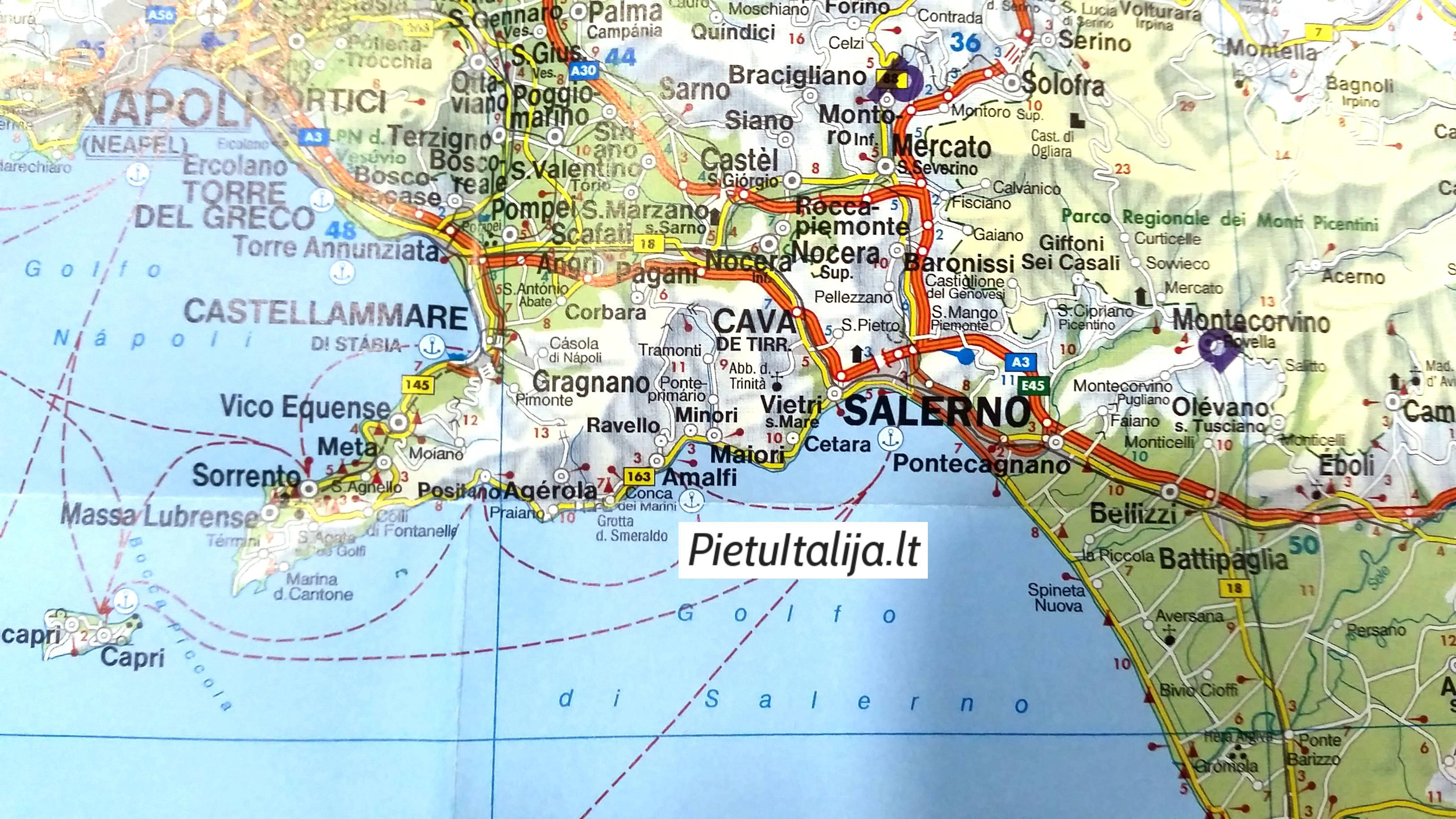 Amalfio pakrantė žemėlapis